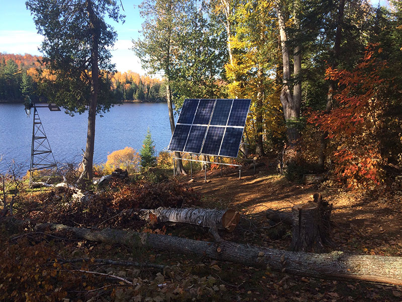 Solar panel on the lake